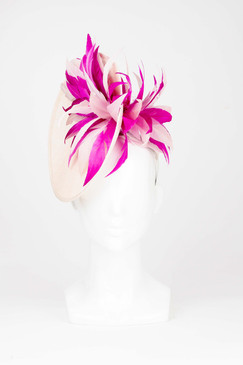 Angled Plate Headpiece with Tonal Pink Feather Burst by Fiona Powell