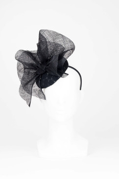 Camille - Black Lace Covered Beret with Sinamay Wave by Morgan & Taylor