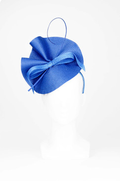Alisa - Blue Synthetic Straw Wave with Bow and Quill by Morgan & Taylor