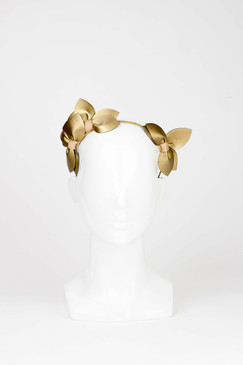 Sheridan - Gold Faux Leather Petal Leaf Ears Headband by Morgan & Taylor