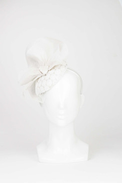 Camille - White Lace Covered Beret with Sinamay Wave by Morgan & Taylor