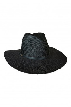 Diaz Black Raffia Straw Fedora by Ace of Something