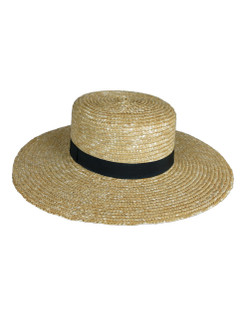 Hamilton - Wide Brim Straw Boater Hat with Black Band by Ace of Something