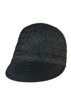 Heather Black Straw Cap by Morgan & Taylor