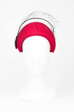 Crimson Felt Vintage Style Cap with Curled Ostrich and Sequin Flower Detail by Angela Menz Millinery