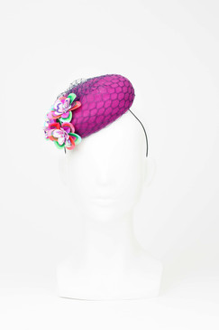 Magenta Felt Button with Sequin Flowers by Angela Menz Millinery