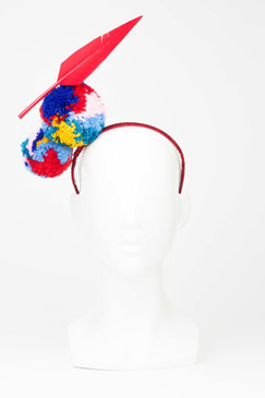 Multicoloured Pom Pom & Floating Feather Headpiece by Angela Menz Millinery