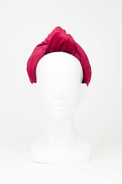 Red velvet topknot turban by Serena Lindeman