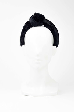 Black velvet topknot turban headband by Serena Lindeman