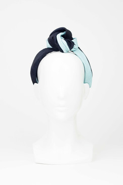 Pale blue and black  topknot turban headband by Serena Lindeman