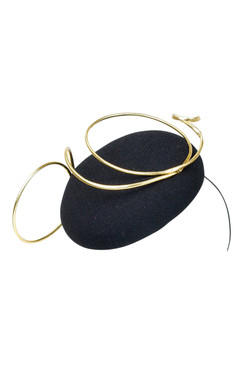 Fillies Collection Black Button Beret with Gold Swirl