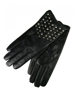 Black Leather Studded Gloves by Morgan & Taylor