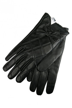 Black Quilted Leather Driving Gloves with Bow by Morgan & Taylor