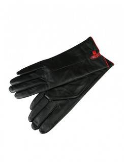 Black Leather Gloves with Red Button Detail by Morgan & Taylor