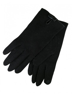 Black Faux Suede Gloves with Bow Detail by Morgan & Taylor