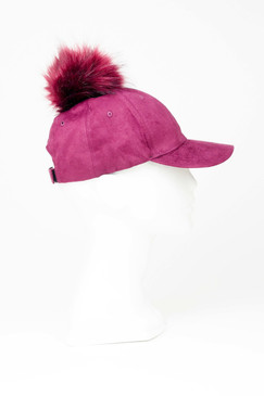 Burgundy Faux Suede Baseball Cap with Pom Pom