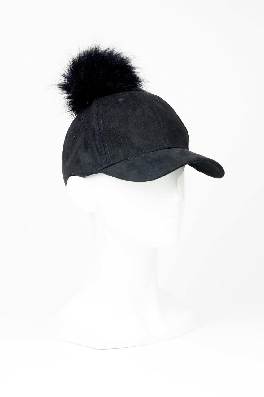 16a760b2613 Black Faux Suede Baseball Cap with Pom Pom - The Eternal Headonist