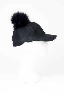 Black Faux Suede Baseball Cap with Pom Pom