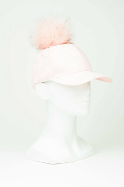 Pastel Pink Faux Suede Baseball Cap with Pom Pom