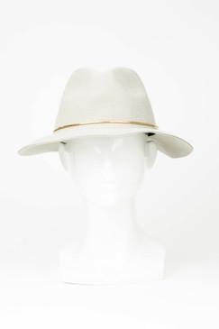 Grey Wool Felt Fedora with Gold Metal Trim