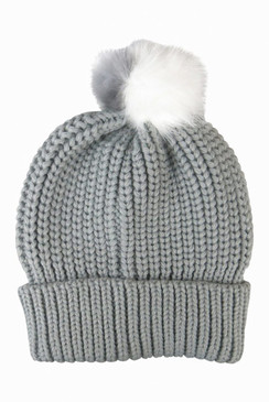 Grey Knit Beanie with Double Tone Faux Fur Pom - Pom by Morgan & Taylor