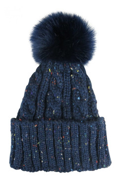 Navy Cable Knit Cuffed Beanie with Faux Fur Pom - Pom by Morgan & Taylor
