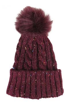 Burgundy Cable Knit Cuffed Beanie with Faux Fur Pom-Pom