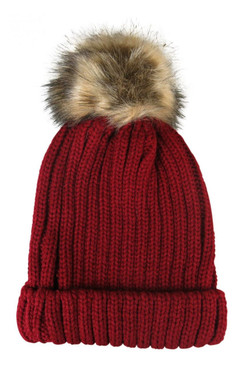 Red Wide Rib Knit Beanie with Faux Fur Pom - Pom by Morgan & Taylor