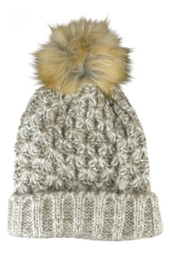 Oatmeal Wide Rib Beanie with Faux Fur Pom - Pom by Morgan & Taylor