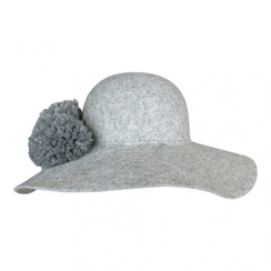 Grey Felt Floppy Hat with Double Pom Pom by Morgan & Taylor