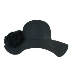 Black Felt Floppy Hat with Double Pom - Pom by Morgan & Taylor