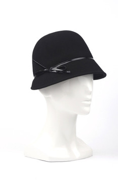 Max Alexander Wool Black Felt Cloche with PVC Trim
