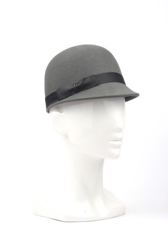 Max Alexander Wool Grey Felt Peaked Cap with Matt PVC Trim