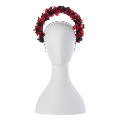 Karlie - Red & Black Floral Halo Crown Headband by Olga Berg Millinery