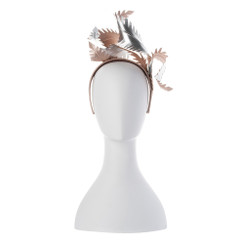 Brooke - Sculptural Faux Leather Feather Headband in Blush Pink & Silver by Olga Berg Millinery