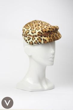 Vintage 1960s leopard print fur felt cap