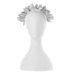 Jess - White Faux Leather Leaf Crown by Olga Berg