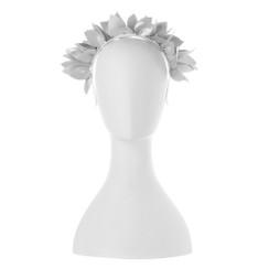 Jess - White Faux Leather Leaf Crown by Olga Berg