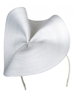 Morgan & Taylor White Sculptural Polystraw Headpiece