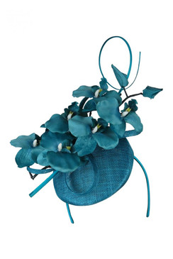Morgan & Taylor Teal Button Beret with Orchid Trim