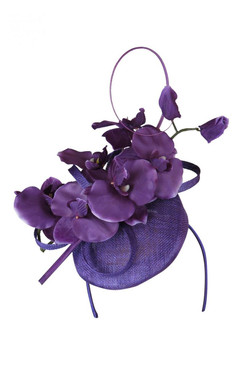 Morgan & Taylor Purple Button Beret with Orchid Trim