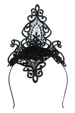 Morgan & Taylor Black Lace Diamond Headpiece - Taya