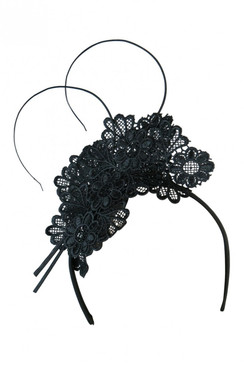 Morgan & Taylor Black Lace Headpiece with Quill - Zoella