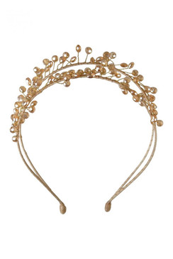 Morgan & Taylor Gold Double Row Beaded Headband - Crystal
