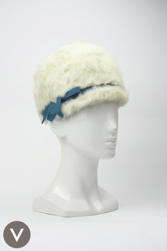 Vintage 1940s white fur Schiaparelli cloche hat with turquoise bow trim