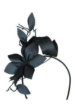 Morgan & Taylor Black Faux Leather Flower Asymmetric Headband