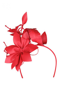 Morgan & Taylor Red Faux Leather Flower Asymmetric Headband