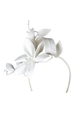 Morgan & Taylor White Faux Leather Flower Asymmetric Headband