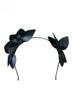 "Morgan & Taylor ""Sheridan"" Black Faux Leather Double Leaf Headband"