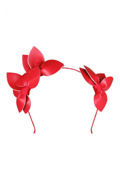 "Morgan & Taylor ""Sheridan"" Red Faux Leather Double Leaf Headband"